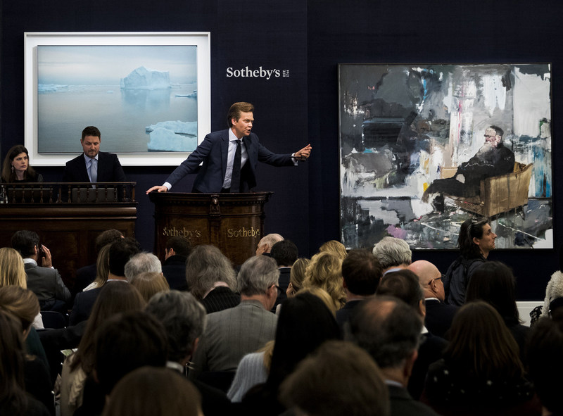 LONDON, ENGLAND - MARCH 08:  A rare iceberg painting by the world's top-selling living painter Gerhard Richter sold for Pounds Sterling 17.7 million ($21.6 million) at Sotheby's on March 8, 2017 in London, England. The Contemporary Art evening sale saw the tally for art sold across auction houses in London reach over half a billion pounds in just seven days. (Photo by Tristan Fewings/Getty Images for Sotheby's)