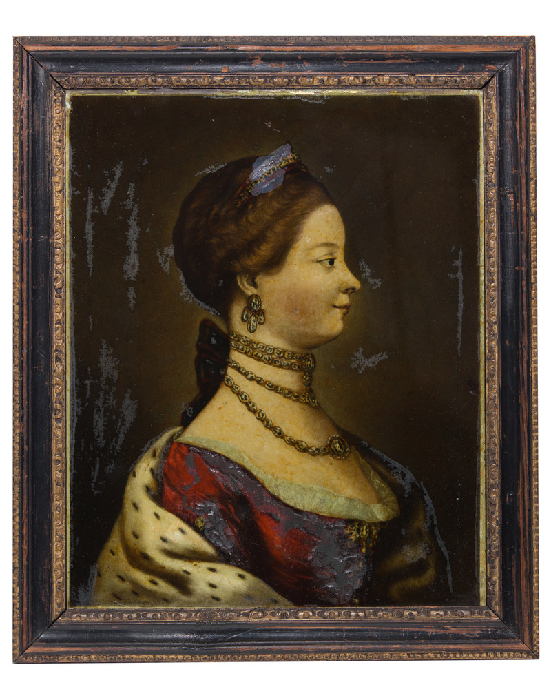 """""""Charlotte, Queen of Great Britain,"""" one in a pair of 18th Century English colored mezzotints called """"The Royal Couple."""" Jeremiah Meyer, Pinxit (1735-1789). Richard Houston, Sculpt (1721-1775). Offered by Georgian Manor as part of the Philadelphia Antiques & Art Show, April 21-23, 2017 at The Navy Yard, Philadelphia PA. philadelphiaantiquesandartshow.com."""