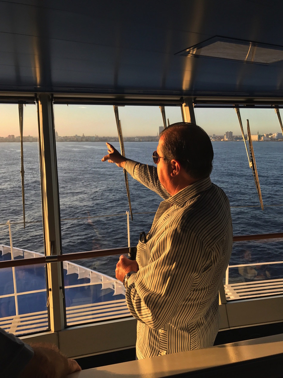 Frank Del Rio, the Cuban-born founder of Oceania Cruises and CEO of parent company Norwegian Cruise Line Holdings, Ltd, on the bridge of Oceania Cruises' M/S Marina as she sails into Havana Harbor on Thursday, March 9, 2017. Oceania Cruises is the first major North American cruise brand to sail to the idyllic island-nation of Cuba.