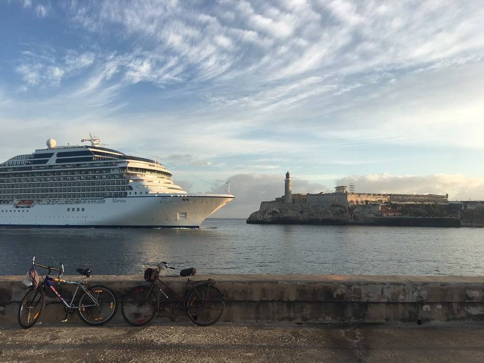 Oceania Cruises' 1,250-guest Marina sails majestically past El Morro Castle into Havana Harbor on Thursday, March 9, 2017. Oceania Cruises made history this morning as the first major North American cruise brand to sail to Cuba.