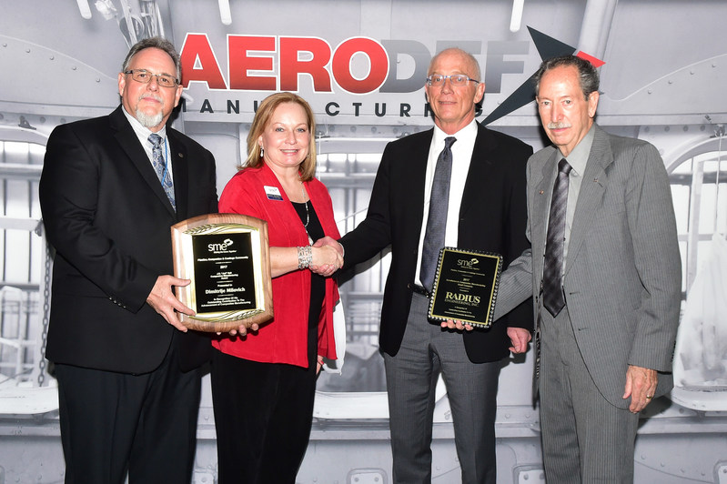 """Left to right: Louis C. """"Lou"""" Dorworth, co-chair of SME's Composites Manufacturing Tech Group; Sandra L. Bouckley, FSME, P.Eng., 2017 SME president; Dimitrije Milovich, president/CEO, Radius Engineering Inc., recognized by SME with the 2017 J.H. """"Jud"""" Hall Composites Manufacturing Award for innovation and achievement in composites; and Richard A. """"Dick"""" Lofland, FSME, co-chair of SME's Composites Manufacturing Tech Group."""