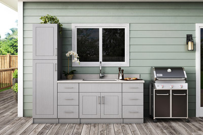Palm Beach Rustic Gray outdoor kitchen by WeatherStrong Outdoor Cabinetry