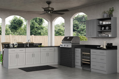 Key West Rustic Gray outdoor kitchen by WeatherStrong Outdoor Cabinetry