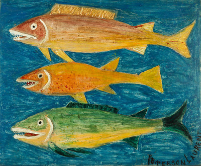 Peterson Laurent (Haitian/St. Marc, 1888-1958), Three Fishes, circa 1950-55, oil-on-Masonite, 20 x 24 inches, signed, Jonathan Demme collection. Estimate: $15,000-$20,000