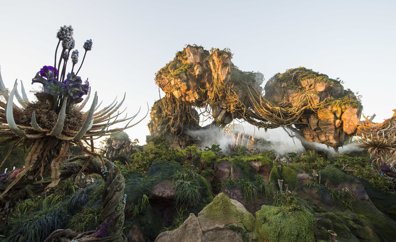 Floating mountains grace the skyline while exotic plants fill the colorful landscape inside Pandora - The World of Avatar, which opens May 27, 2017 at Disney's Animal Kingdom. Pandora - The World of Avatar will bring a variety of new experiences to the park, including a family-friendly attraction called Na'vi River Journey and new food & beverage and merchandise locations. Disney's Animal Kingdom is one of four theme parks at Walt Disney World Resort in Lake Buena Vista, Fla.