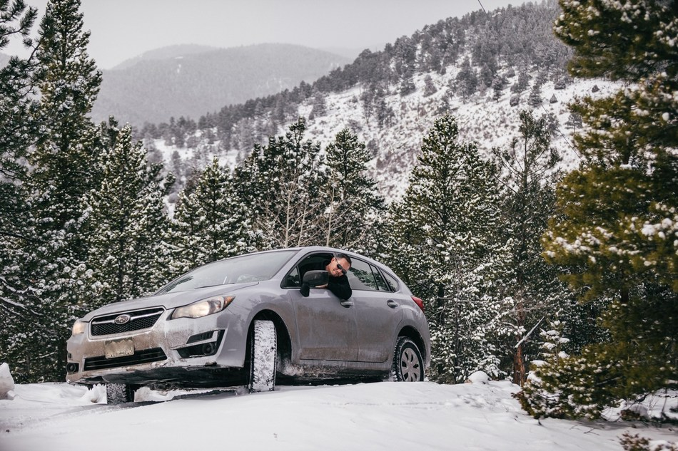 Vertex Innovations Construction Engineer Jeramie Trotter visits a remote project site on rough terrain just after a heavy snowfall in Idaho Springs, Colorado with his newly enhanced Vertex vehicle.