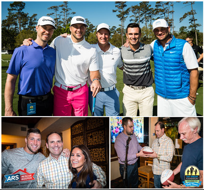 Top Pic: Chris Mellon, Tim Tebow, Bryan Craun, Billy Horschel, Robbie Tebow; Bottom Left Pic: Tim Tebow, Dave Slott, Kaylee Hartung; Bottom Right Pic: Erik Dellenback, Dave Slott, Don Karnes