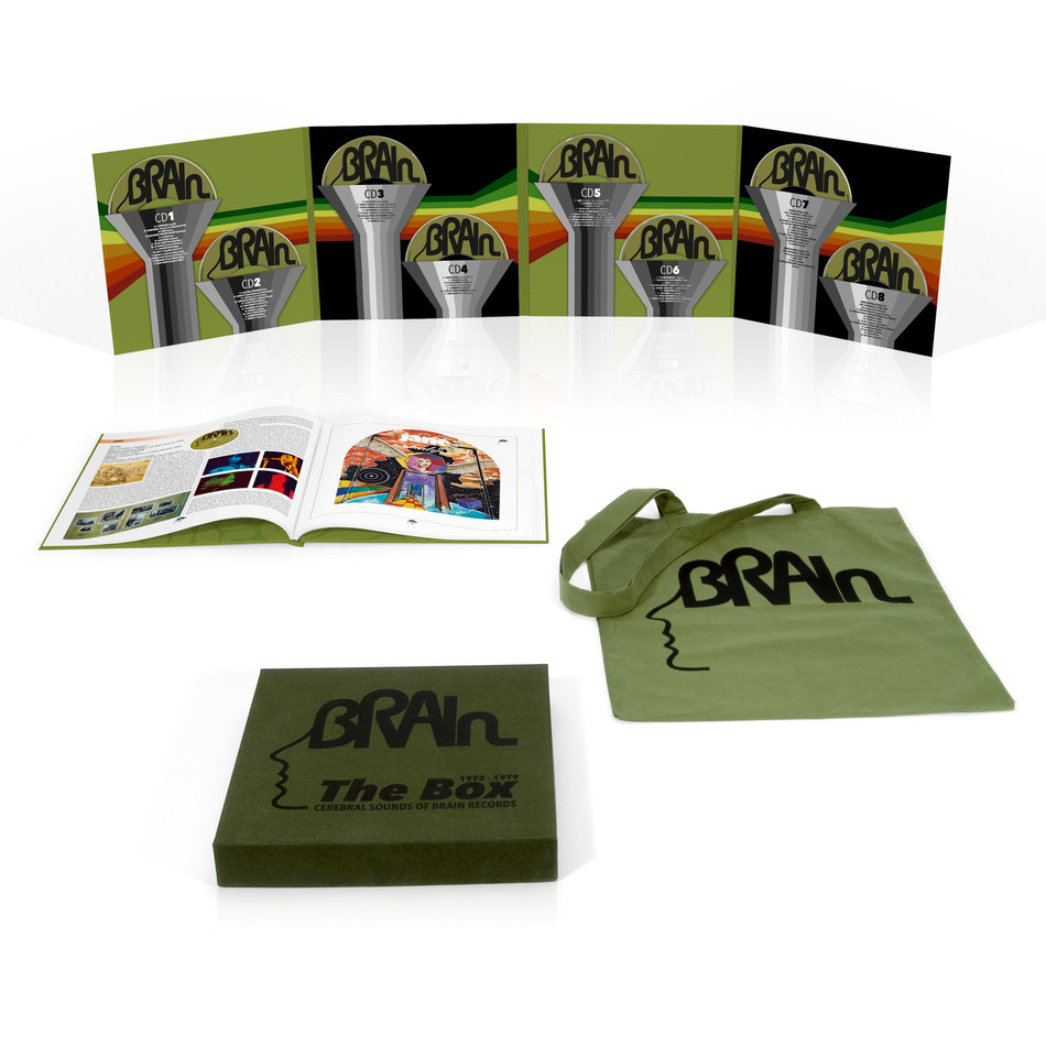 "Set for release on March 31st, ""The Brain Box - Cerebral Sounds Of Brain Records 1972-1979"" contains 8CDs and a total of 83 songs. The set is completed by a 76-page hardcover book with extensive information about the label as well as photographs and artwork; it also includes a Brain tote bag featuring their iconic logo."
