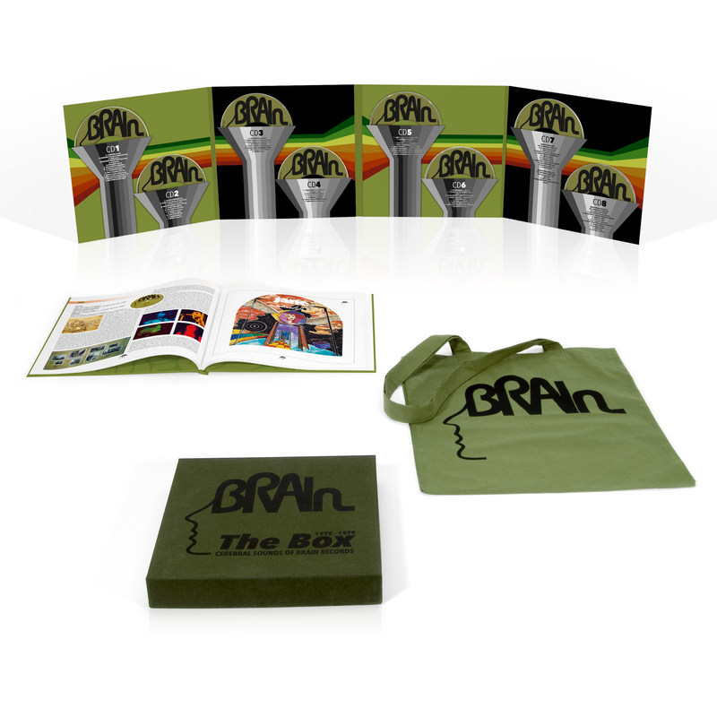 """Set for release on March 31st, """"The Brain Box - Cerebral Sounds Of Brain Records 1972-1979"""" contains 8CDs and a total of 83 songs. The set is completed by a 76-page hardcover book with extensive information about the label as well as photographs and artwork; it also includes a Brain tote bag featuring their iconic logo."""