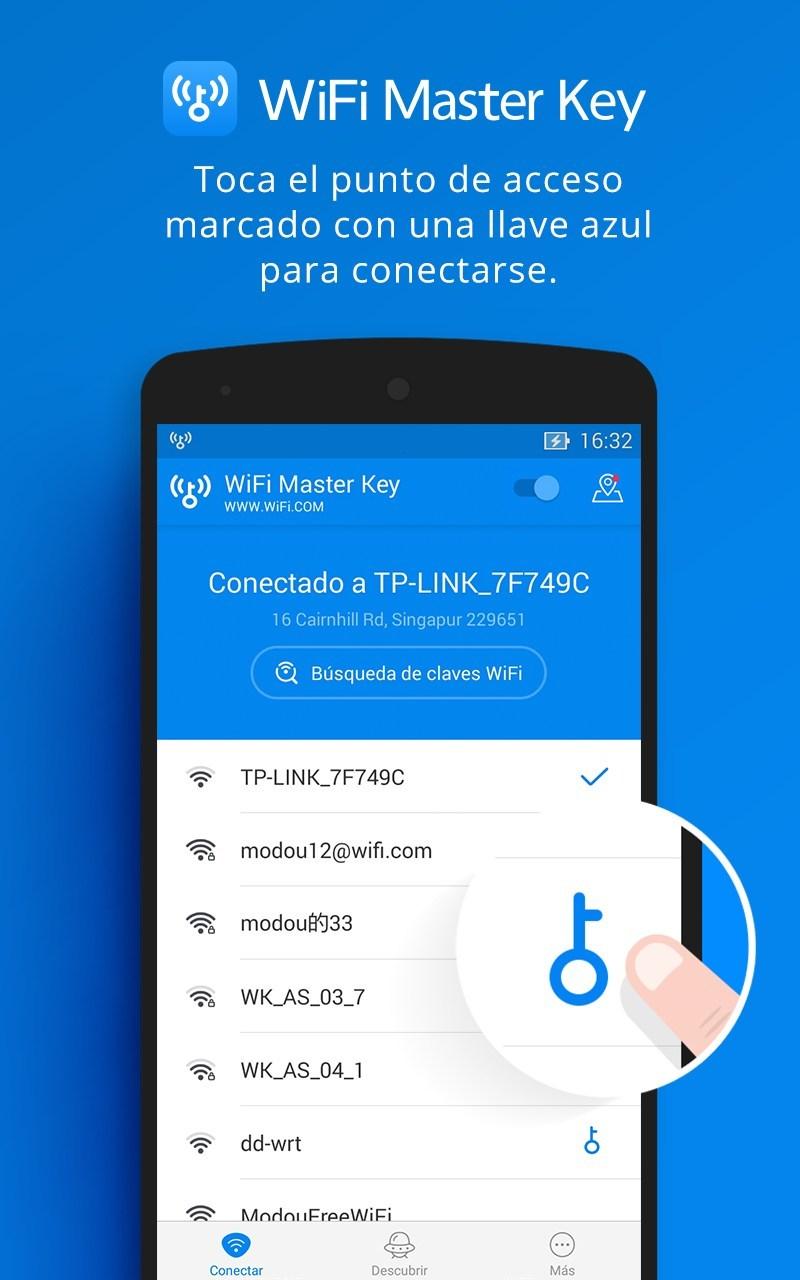 WiFi Master Key - para conectarse al WiFi pulse la tecla azul