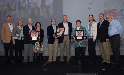 Henry Schein, Inc. has awarded its Henry Schein Cares Medals in the Medical category. L-R: Brad Connett and Bridget Ross of Henry Schein; Arthur Peisner and Ilana Steinhauer of gold medalist Volunteers in Medicine Berkshires; Rusty Curington and Mike Espel of bronze medalist St. Vincent de Paul Community Pharmacy of Cincinnati; Sister Debbie Blow and Carol Herring of silver medalist North Country Mission of Hope; and Steven Paladino, CFO, and Stanley M. Bergman, CEO, of Henry Schein.