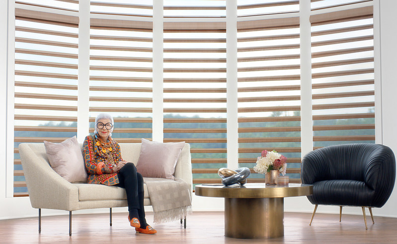 New Hunter Douglas ad campaign pairs style icon Iris Apfel with PowerView Motorization technology. Style, substance and intelligent shades set a new home decor standard.