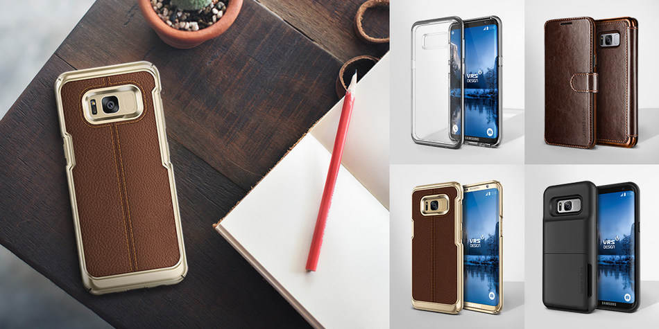 The VRS Design Samsung Galaxy S8 & S8 Plus Case collection features 4 stylish and functional cases: Crystal Bumper, Simpli Mod, Damda Folder, Layered Dandy