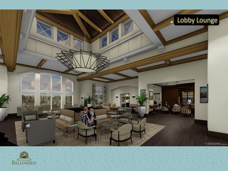 An architectural rendering of the proposed BallenIsles Country Club Lobby Lounge is part of the $35 Million Clubhouse Renovation inspired by the Club's iconic Heritage. The project is expected to be completed in 18 months.