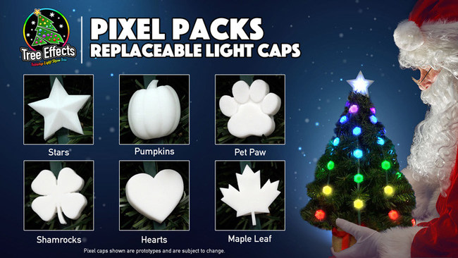 Pixel Packs allow you to replace the included mini-snowflakes with new shapes like stars, pumpkins, or pet paws, for different holidays or themed looks. Your tree no longer needs to be just for Christmas!