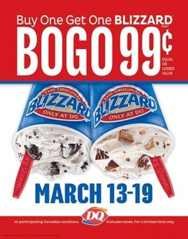 Blizzard® BOGO $0.99 available from March 13 to 19 (CNW Group/Dairy Queen Canada)
