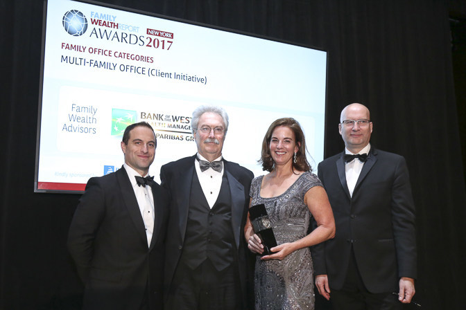 Bank of the West's Steve Prostano and Julie Shafer (both center) accept award from Family Wealth Report