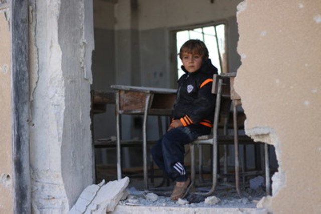 """""""I wanted to become a doctor but perhaps I won't become anything because our school was bombarded,"""" says 6-year old Ahmad. """"We used to play a lot in the schoolyard but now I'm afraid of coming here.  My dad might take us to another school in another village,"""" Ahmad continues. ©UNICEF/2016/Syria/Idleb (CNW Group/UNICEF Canada)"""