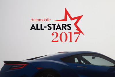 The 2017 Acura NSX was selected as a 2017 'AUTOMOBILE' All-Star, adding to the supercar's growing list of accolades.