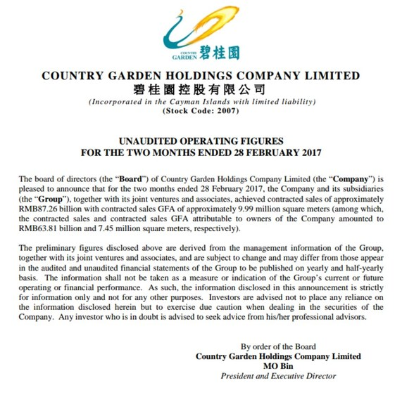 Country Garden Achieves Sales Of Nearly 87 3 Billion Yuan