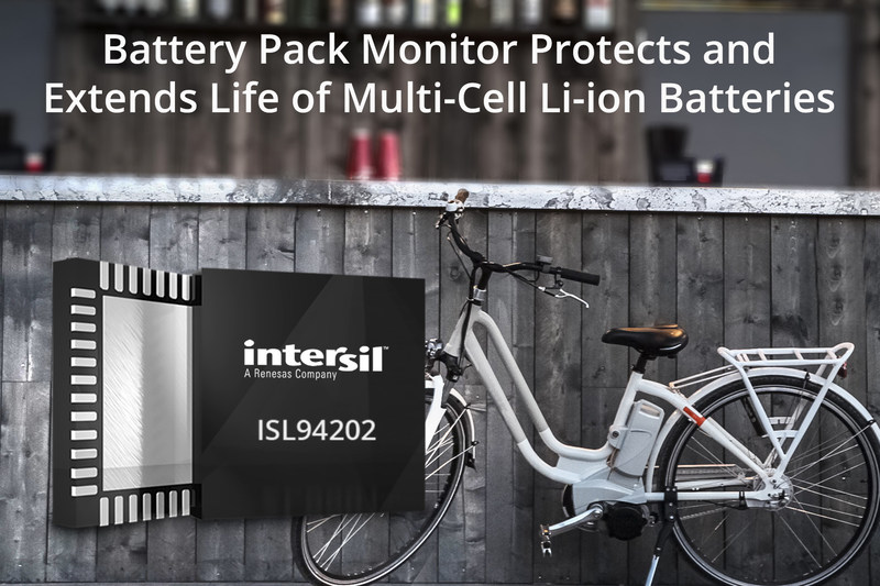 Intersil's feature-rich ISL94202 is a multi-cell battery pack monitor that enables the smallest lithium-ion (Li-ion) battery pack designs for consumer and industrial products including vacuum cleaners, lawn equipment, handheld power tools, e-bikes, scooters, toys, and energy storage systems.