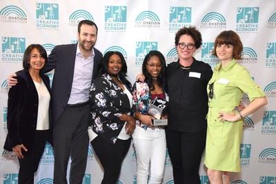 Creative Economy innOVATION Grant Recipients from New Orleans Video Access Center with Ovation Foundation President Liz Janneman (far left) and CA State Senator Ben Allen. Photo credit: Getty Images/Araya Diaz