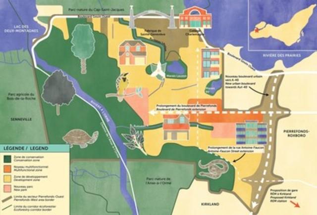 Map of main ideas submitted by the City for public discussion about the future of Pierrefonds-West (source : OCPM pamphlet) (CNW Group/Office de consultation publique de Montréal)