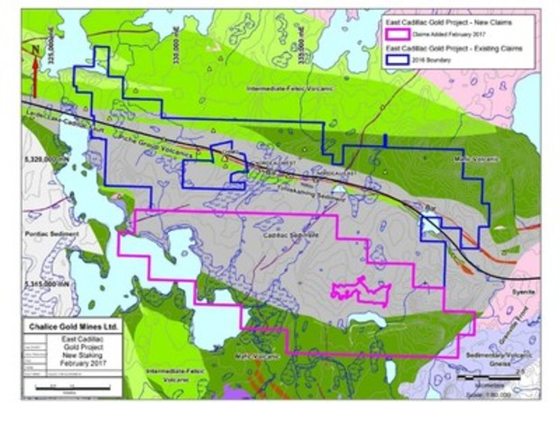 Figure 2. Current tenure for the East Cadillac Gold Project (new claims pending outlined in magenta) (CNW Group/Chalice Gold Mines Limited)