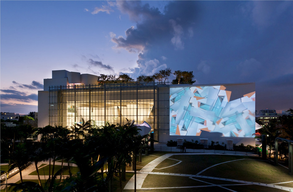 The New World Symphony's Main Façade is Part Projection and Part Glass Curtain Wall Credit: Claudia Uribe