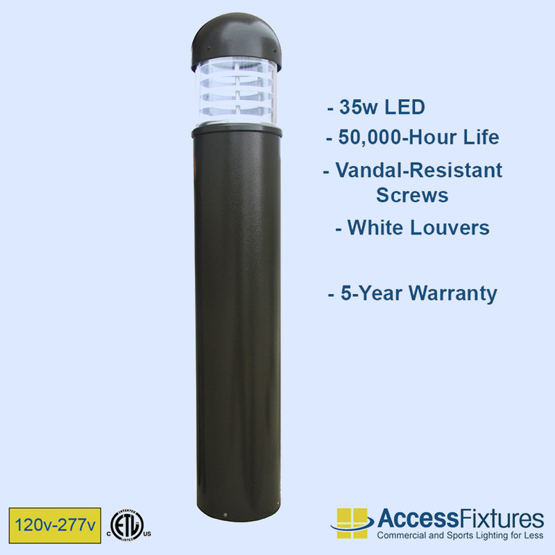 VENU 35w LED Round Dome Top Bollards with Louvers