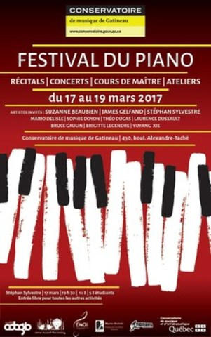 Le Festival du piano, du 17 au 19 mars au Conservatoire de musique de Gatineau. Entrée libre à la plupart des activités. (Groupe CNW/Conservatoire de musique et d'art dramatique du Québec)