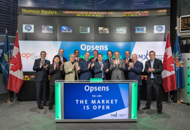 Louis Laflamme, President & Chief Executive Officer, Opsens Inc. (OPS), joined Ungad Chadda, President, Capital Formation, Equity Capital Markets, TMX Group to open the market. Opsens focuses mainly on the measure of Fractional Flow Reserve (FFR) in interventional cardiology. Opsens offers an optical-based pressure guidewire (OptoWire) that aims at improving the clinical outcome of patients with coronary artery disease. Opsens is also involved in industrial activities. Opsens Inc. graduated from TSX Venture Exchange and commenced trading on Toronto Stock Exchange on March 1, 2017. (CNW Group/TMX Group Limited)