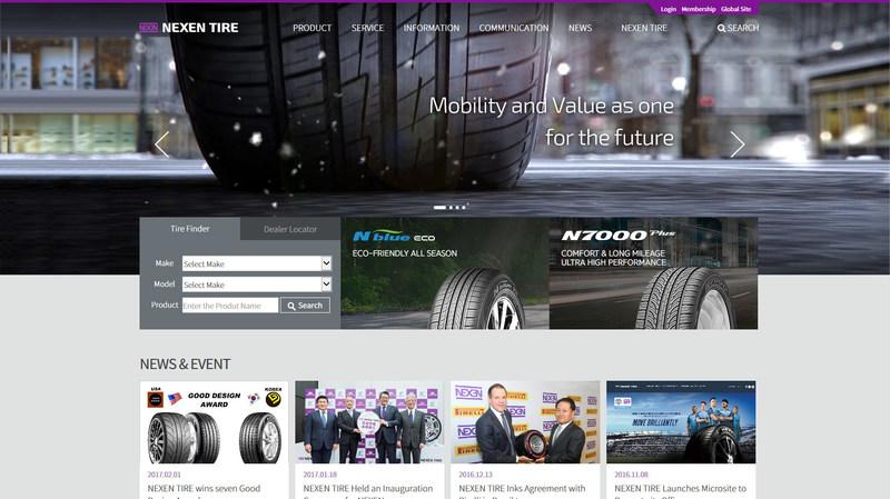 Nexen Tire renova seu site global