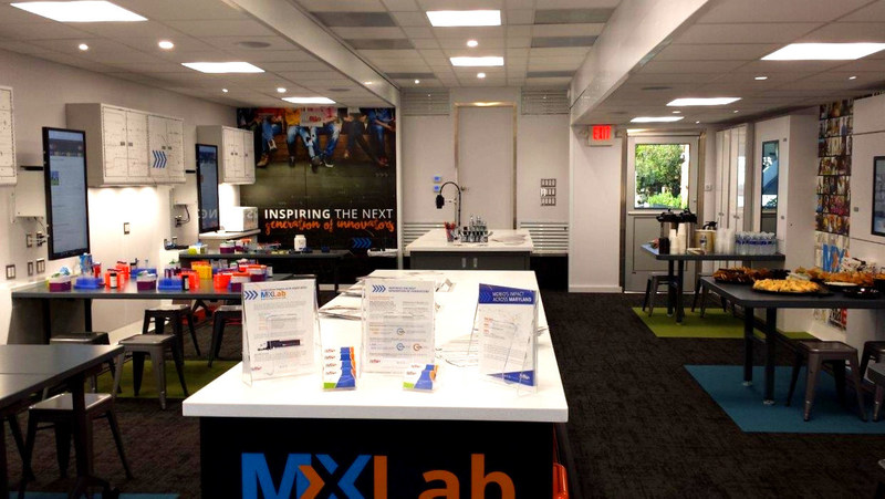 The MdBio Foundation Inc. welcomes visitors to explore the Triune-built MXLab. The double expandable trailer opens to nearly 1,000 s.f. of interior space for visitors to participate in hands-on STEM activities.