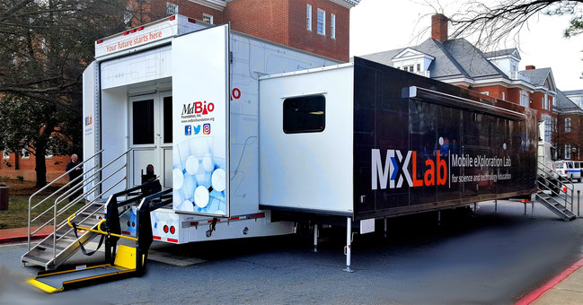 The MdBio Foundation Inc.'s mobile STEM trailer in Annapolis, Maryland, built by Triune Specialty Trailers. The educational lab will be used to incorporate STEM learning into 35,000 Maryland students' curriculum per year.
