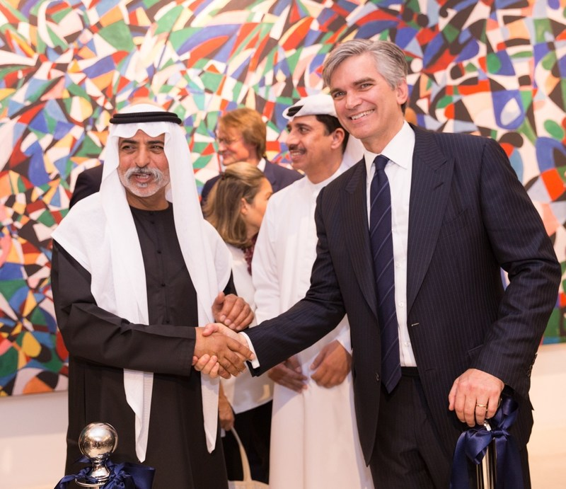 H.H. Sheikh Nahyan Mabarak Nahyan, Minister of Culture & Knowledge Development, and Sotheby's CEO Tad Smith celebrate the opening of Sotheby's Dubai.