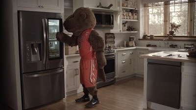 In LG's new television ad campaign, launched in conjunction with the 2017 NCAA Men's Basketball Tournament, team mascots raid the fridge for their game day diet using LG's InstaView technology, which allows users to knock twice to illuminate the refrigerator's sleek glass panel and see inside without opening the door.