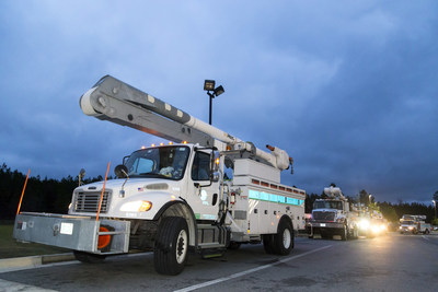 Florida Power & Light Company (FPL) crews depart Yulee, Fla., March 14, 2017. The company's restoration workforce of 320 employees and contractors is traveling more than 1,000 miles to support power restoration activities in Long Island following the Nor'easter. Photo credit: Kurt Rivers for FPL.