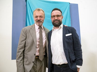 Graham Norton the subject of the final commission of the Sky Arts Portrait Artist of the Year Series 2017 was surprised to discover he is related to winning artist Gareth Reid (PRNewsFoto/StoryVault Films and Sky Arts)