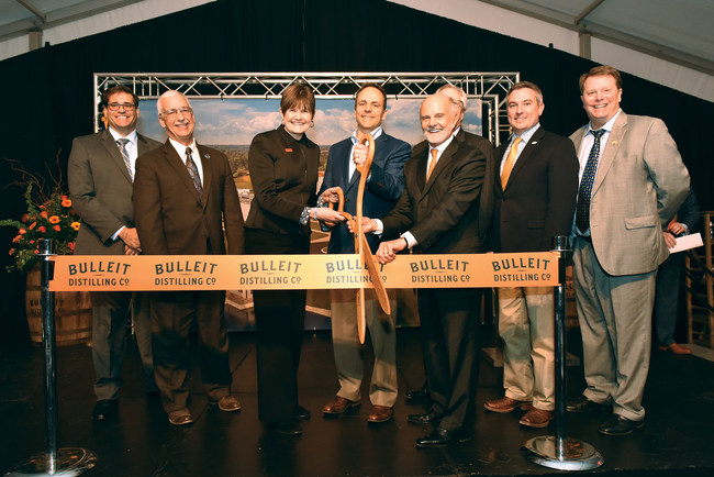 The Bulleit Distilling Co. ribbon-cutting ceremony held in Shelbyville, Ky. included Pietro Di Pilato, SVP, Technical, DIAGEO North America, Ky. State Sen. Paul Hornback, Deidre Mahlan, President, DIAGEO North America, Gov. Matt Bevin (Ky.), Tom Bulleit, Founder, Bulleit Distilling Co., Shelby County Judge-Executive Dan Ison, Ky. Ag. Commissioner Ryan Quarles and Eric Gregory, President, Kentucky Distillers' Association. (Brian Bohannon/AP Images for Bulleit Distilling Co.)