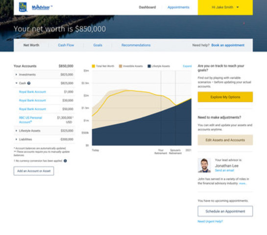 RBC's MyAdvisor will enable clients to connect digitally with advisors, via a real-time online platform, supported by live video. (CNW Group/RBC Royal Bank)
