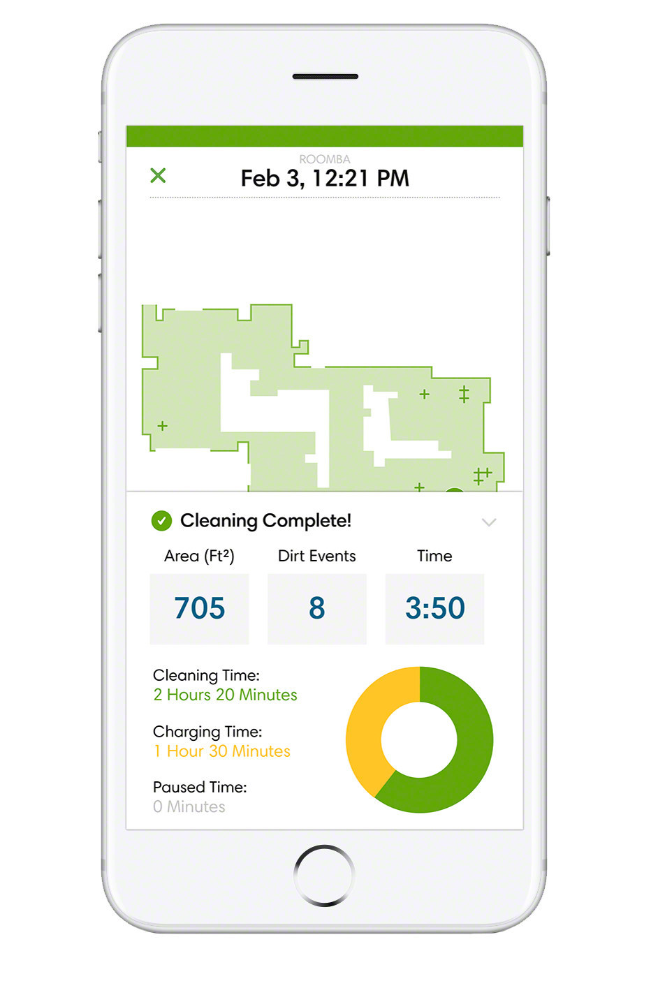 Clean Map(TM) reports for iRobot Roomba(R) 900 Series vacuuming robots are one of the exciting new additions to the iRobot HOME App, available on the App Store and Google Play. Customers can zoom and pan Clean Map reports in the History button to view cleaning coverage, as well as any areas of concentrated dirt on which the robot focused. Clean Map reports also provide statistics, such as area cleaned, job duration, and charging time for completed jobs.