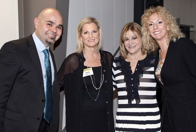 (From l - r) Gala co-chair Patrick Baghdaserians congratulates MOLM partners Dana Lowy, Lisa Helfend Meyer and Felicia Meyers.