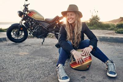 Aviator Nation founder Paige Mycoskie with her custom-designed 2017 Aviator Nation + 2017 Honda Rebel Motorcycle