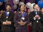 Washington, D.C., March 14, 2017-Indrani Das, 17, of Oradell, New Jersey, wins top prize and $250,000 in Regeneron Science Talent Search, founded and produced by Society for Science & the Public. Also pictured are Aaron Yeiser (left), 18, of Pennsylvania, who won 2nd Place and $175,000, and Arjun Ramani (right), 18, of Indiana, who won 3rd Place and $150,000. Photo Credit: Society for Science & the Public/Chris Ayers