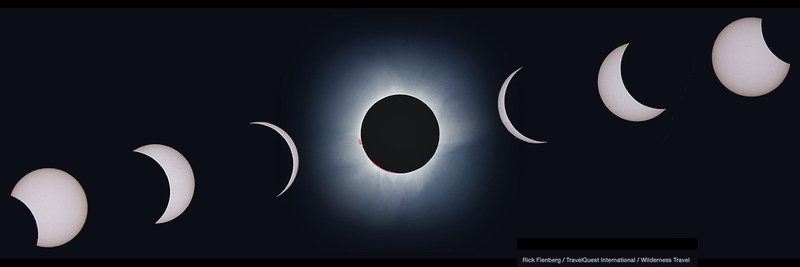 Time-lapse sequence of the total solar eclipse of 9 March 2016 as observed from aboard the cruise ship Le Soleal in the Molucca Sea off Indonesia. Photos shot with Canon Rebel T3i DSLR and image-stabilized zoom lens at 300-mm focal length, handheld.