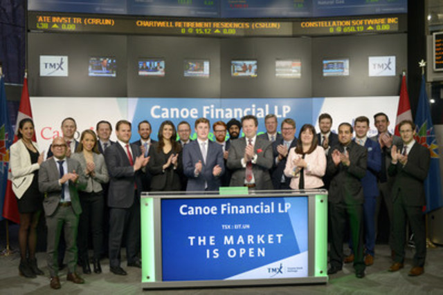 Darcy Hulston, President & CEO, Canoe Financial LP, joined Dani Lipkin, Head, Business Development, Exchange Traded Funds, Closed-End Funds, and Structured Notes, TMX Group, to open the market. Canoe Financial's EIT Income Fund (EIT.UN) has recently added a Preferred Unit offering under the symbol EIT.PR.A. Founded in 2008, Canoe Financial LP is an employee-owned investment firm focused on building financial wealth for Canadians. Canoe manages approximately $4 billion in assets across a diversified range of open end mutual funds, closed end investment funds and private energy equity products. EIT.UN commenced trading on Toronto Stock Exchange on August 6, 1997. (CNW Group/TMX Group Limited)