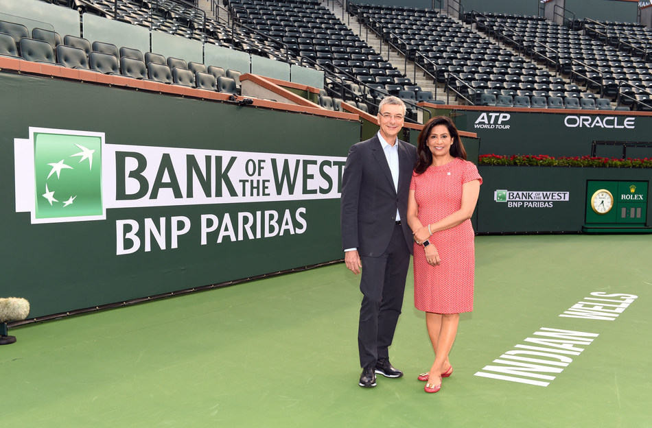 Jean-Yves Fillion, CEO of BNP Paribas USA and Head of CIB Americas, and Nandita Bakhshi, President and CEO of Bank of the West, unveil the new Bank of the West logo on center court at the BNP Paribas Open in Indian Wells, Calif.