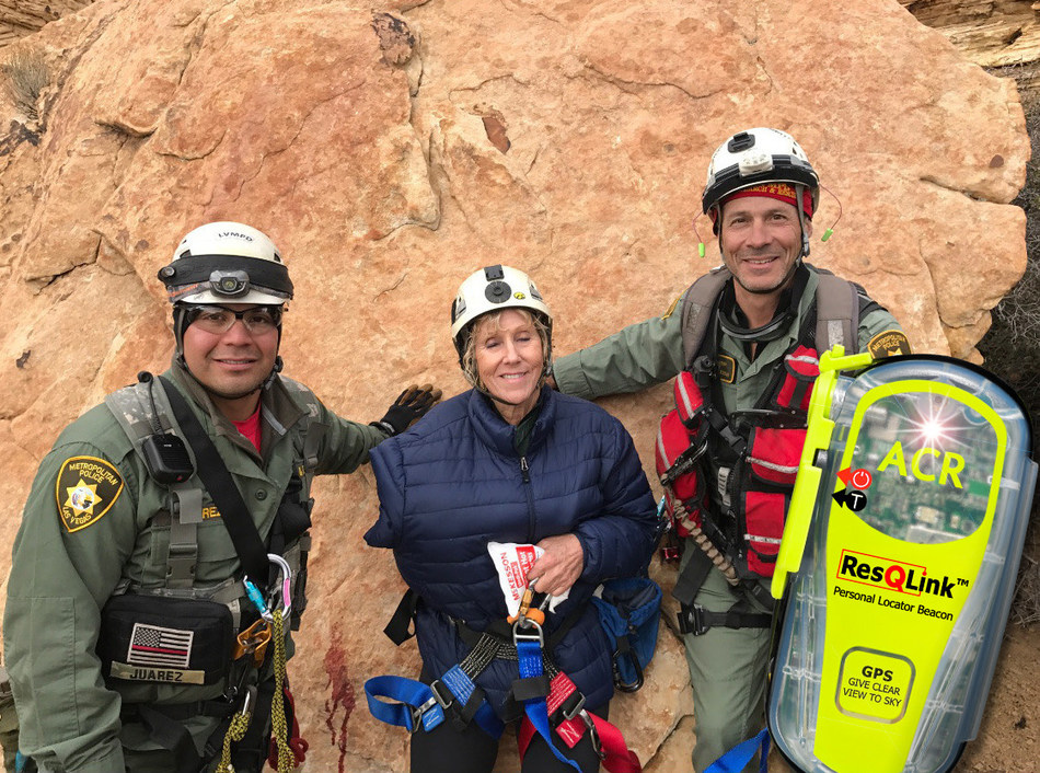 Rita Wagner with her rescue personnel, thanks to her ACR Electronics ResQLink Personal Locator Beacon