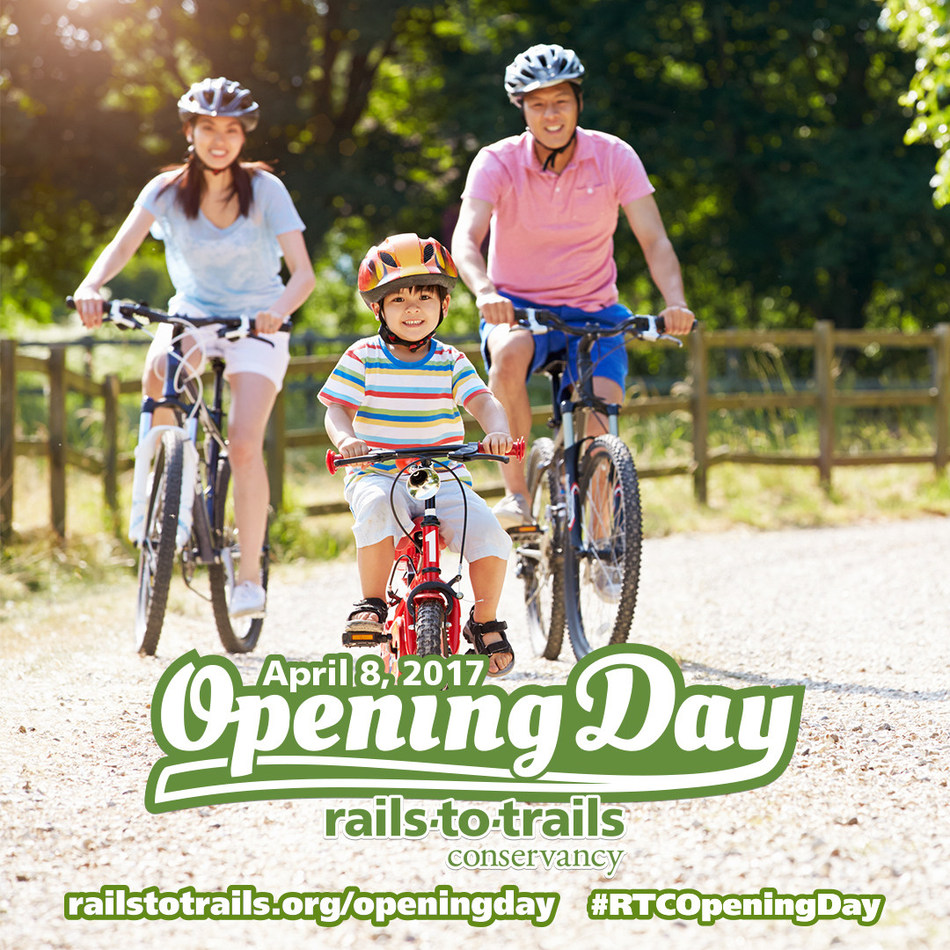 Rails-to-Trails Conservancy's fifth annual Opening Day for Trails will take place on Saturday, April 8, 2017. Thousands of people from across the nation will kick off the spring trail season by hitting their favorite trails for a walk, run, ride or special event. Find an event or pledge to get out on the trail on Opening Day at railstotrails.org/openingday.